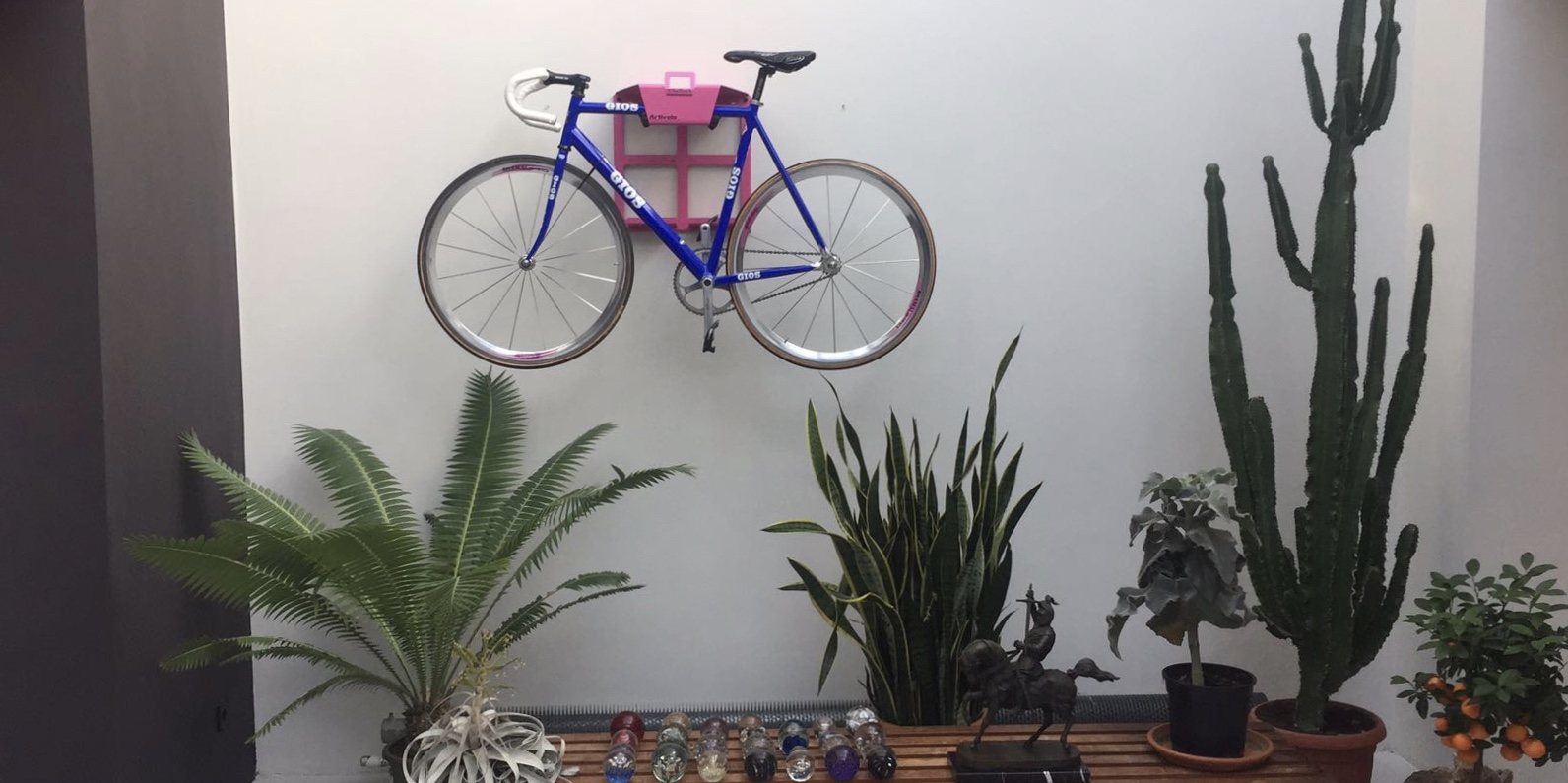 Pink steel lether hanging system racing bike
