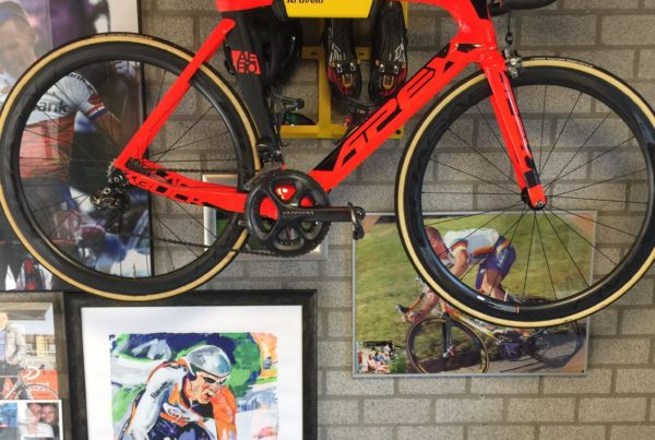 Hanging system racing bike in the color yellow