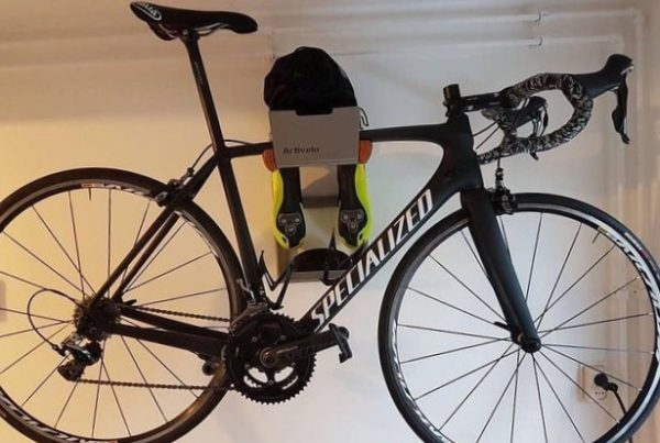 Grey all in one hanging system racing bike