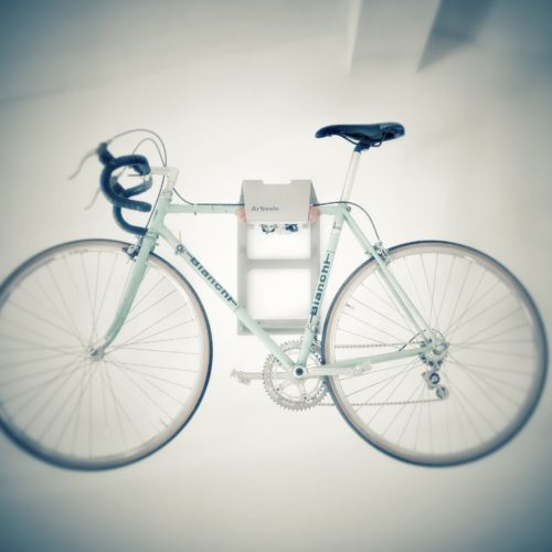 Unique grey hanging system racing bike
