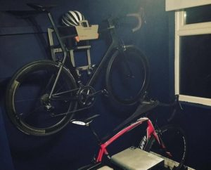 Grey vertical hanging system for racing bike