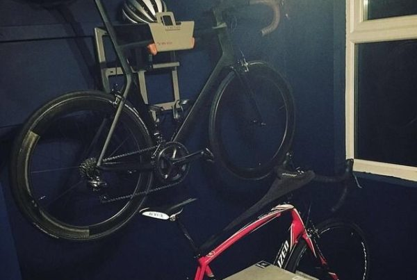 Grey vertical hanging system for racing bike