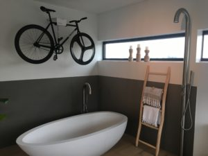 Hang your bike on the wall in the bathroom