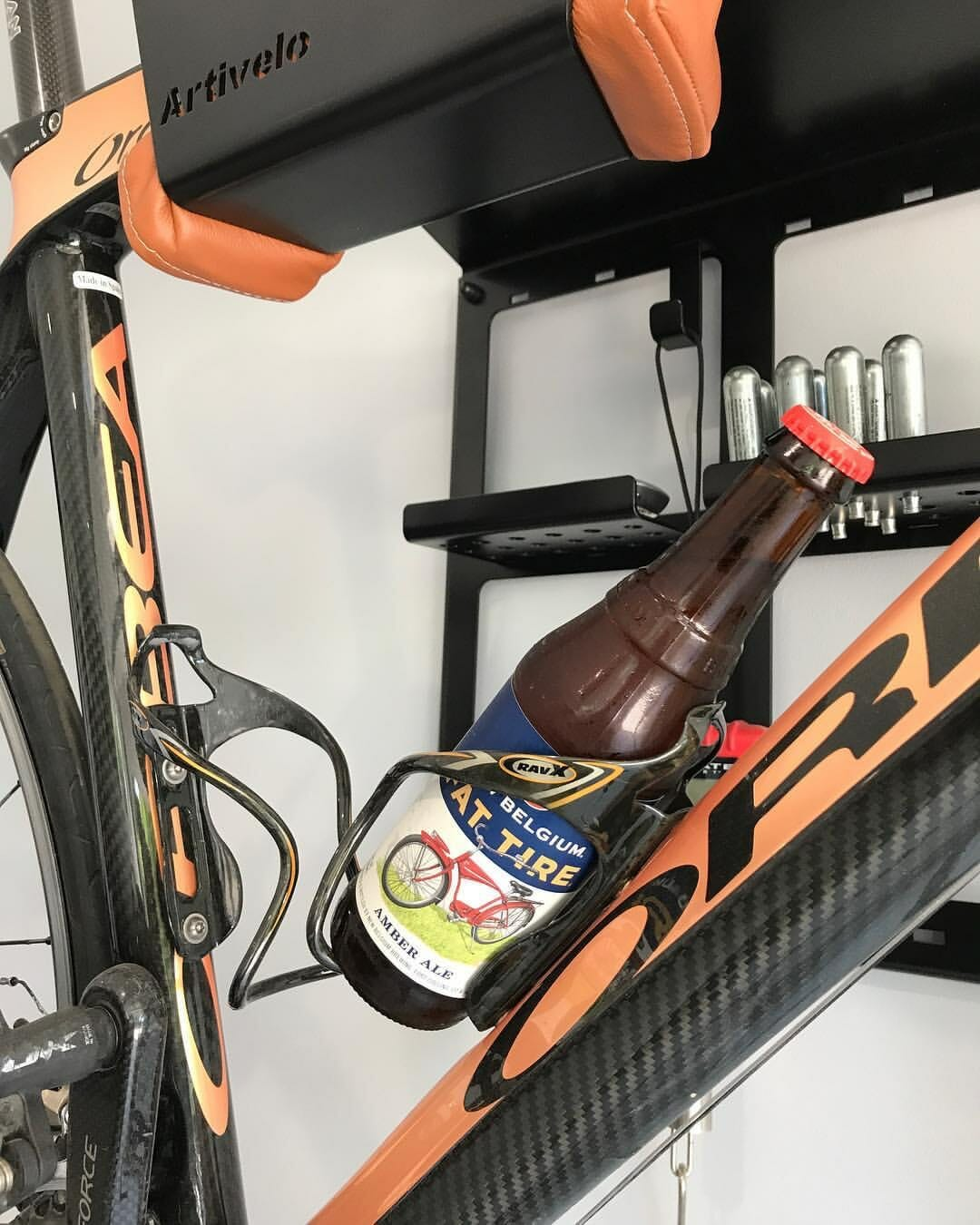 Black hanging systems racing bikes