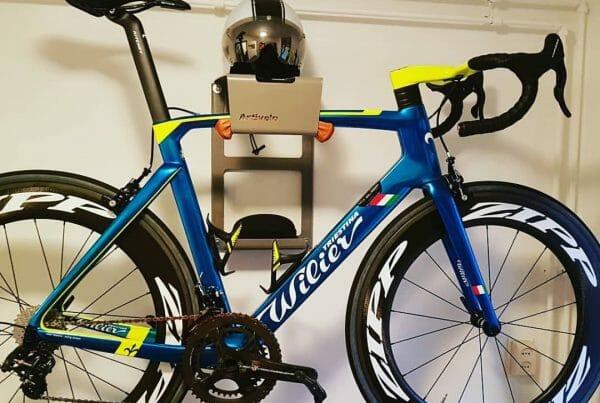 Grey hanging system race bike