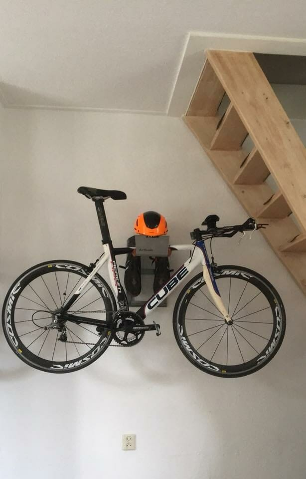Hang your race bike below the stairs