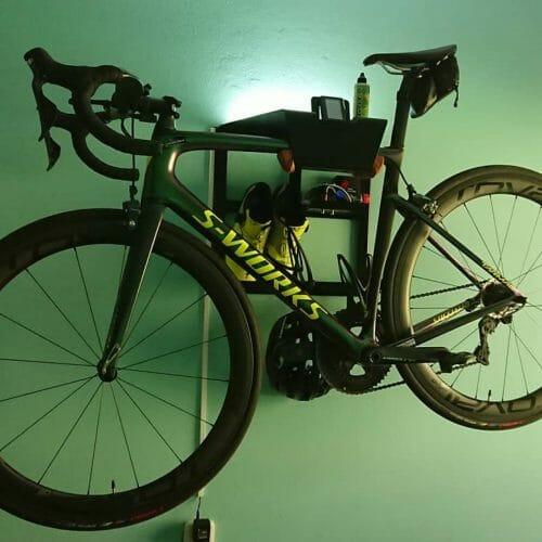Hang up racing bike vertically black