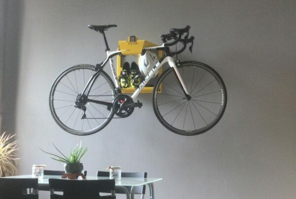 Road bike hang up wall in livingsroom