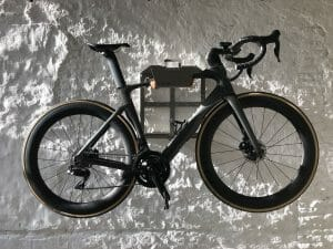 Bike storage solution on the wall grey