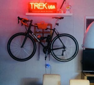Bike storage solution on the wall at 2Ride