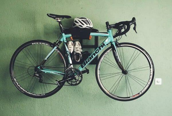 Bike storage on the wall black