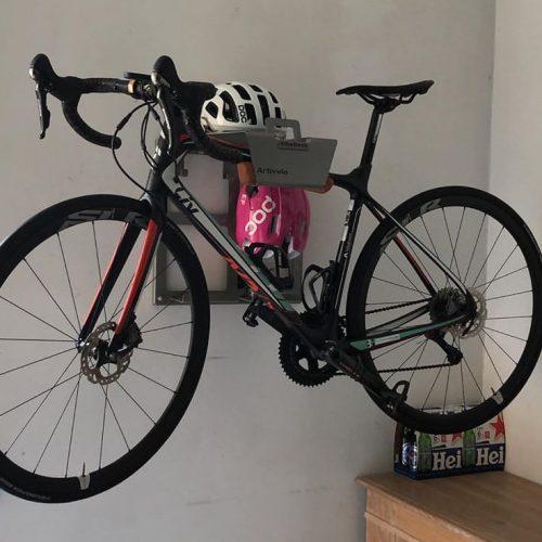 Bike Rack on the wall at Saskia