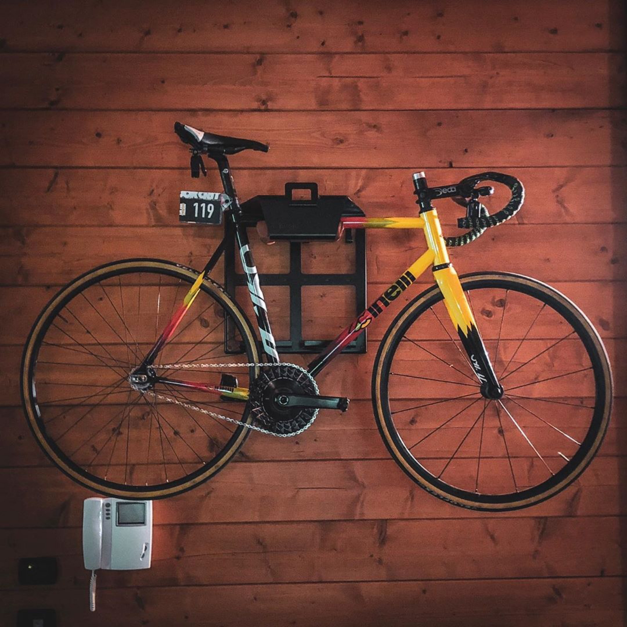 Bike mount wooden wall