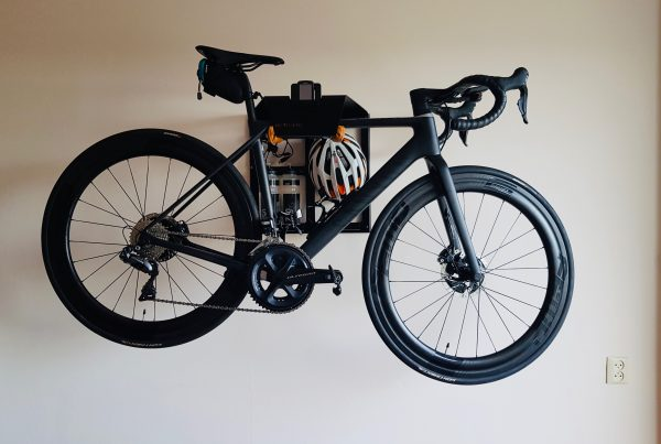 Storage system for black racingbike