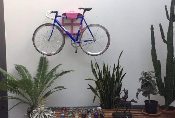 Roze ophangsysteem fiets woonkamer